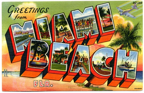 "A classic ""Greetings from Miami Beach"" postcard from 1942"
